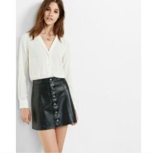 Express Minus The Leather Button Front Aline Skirt